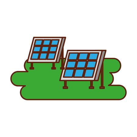 태양 전지 패널 현대 기술 대체 에너지 소스 벡터 일러스트 레이션 일러스트