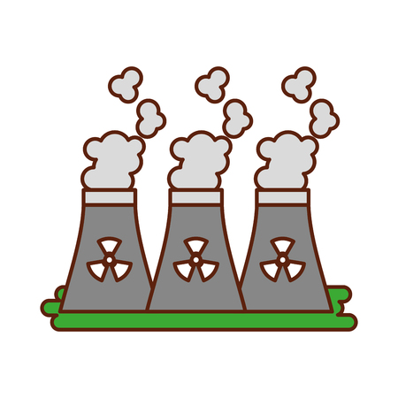 industrial the nuclear power plant and factory reactor tower vector illustration