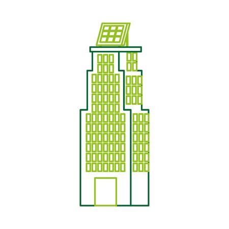 Casa di natura o di affari di ecologia urbana verde di energia verde con l'illustrazione di vettore del pannello solare Archivio Fotografico - 86318582