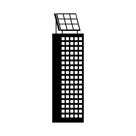 Casa di natura o di affari di ecologia urbana verde di energia verde con l'illustrazione di vettore del pannello solare Archivio Fotografico - 86318583