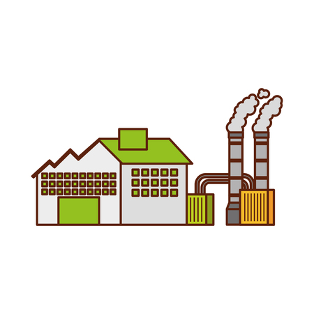 industry factory building plant and factory power and smoke vector illustration 向量圖像