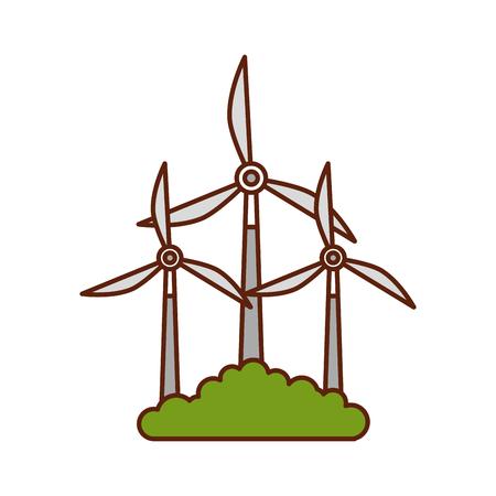 alternatieve bronnen van energie hernieuwbare windmolens vectorillustratie Stock Illustratie