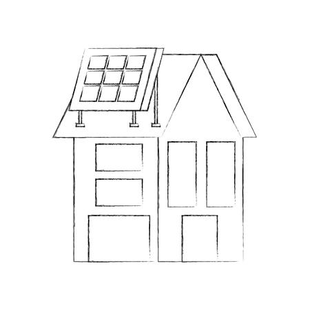 부동산에 대 한 태양 지붕 패널 집 일러스트