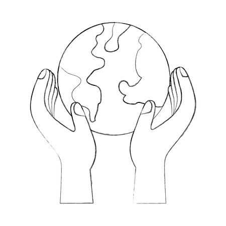 hands holding planet earth ecological environmental concept vector illustration