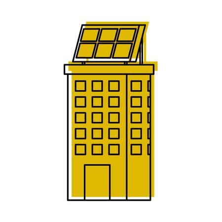 Casa di natura o di affari di ecologia urbana verde di energia verde con l'illustrazione di vettore del pannello solare Archivio Fotografico - 86318645