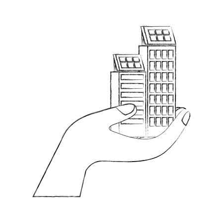 green energy hand holding building solar panel vector illustration