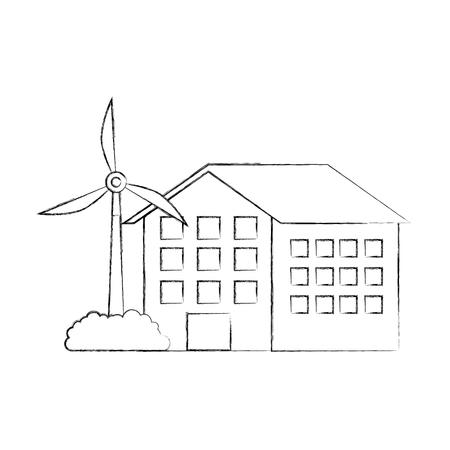 house building with wind turbine eco real estate energy efficient vector illustration Illusztráció