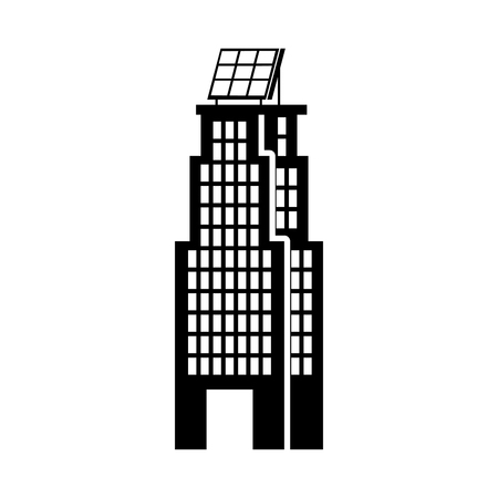 green energy urban ecology nature house or business building with solar panel vector illustration 向量圖像