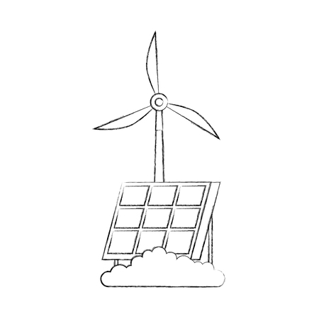 solar panel windmill technologies alternative energy sources vector illustration