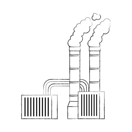 공장 흡연 산업 개념 벡터 일러스트 레이 션에서 오염