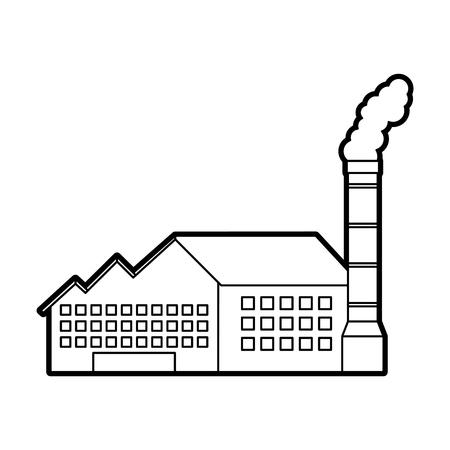 石油・ガスエネルギーとパワーベクトルのイラストを生産する産業製作所の建物