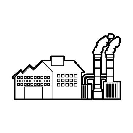 石油・ガスエネルギーとパワーベクトルイラストを生産する産業製造工場の建物