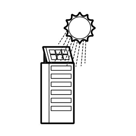 Casa di natura o di affari di ecologia urbana verde di energia verde con l'illustrazione di vettore del pannello solare Archivio Fotografico - 86318705