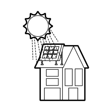 부동산 벡터 일러스트 레이 션에 대 한 태양 지붕 패널 집