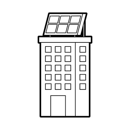 Casa di natura o di affari di ecologia urbana verde di energia verde con l'illustrazione di vettore del pannello solare Archivio Fotografico - 86318711