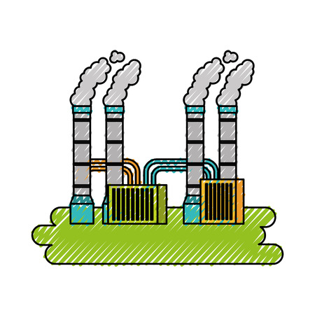 pollution from factory smoking industrial concept vector illustration Illustration