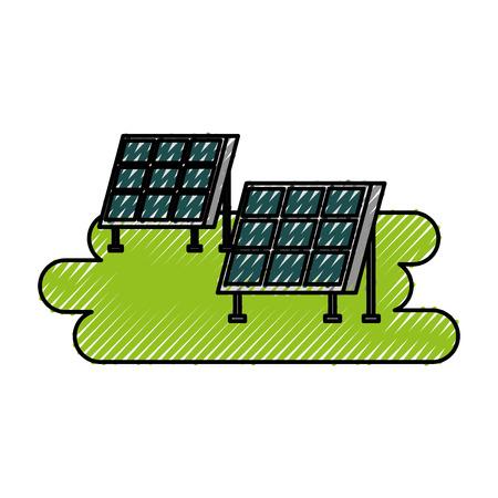 ソーラーパネル現代技術代替エネルギー源ベクトルイラストレーション