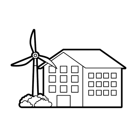 house building with wind turbine eco real estate energy efficient vector illustration Ilustração