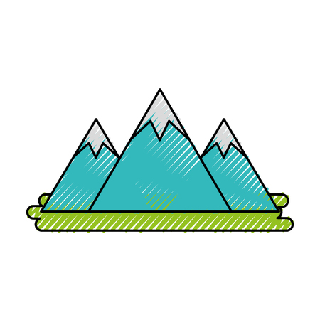 mountain peak natural land environment vector illustration
