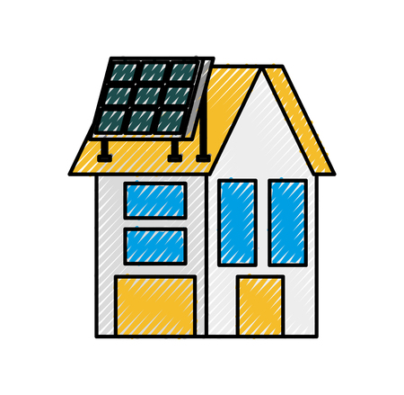 house with solar roof panel for real estate vector illustration