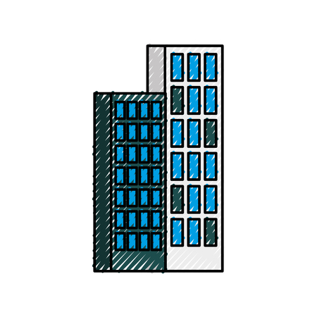 building business office or apartment residential urban structure vector illustration Illustration