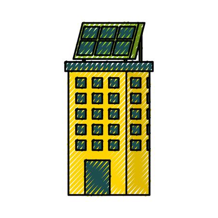 Casa di natura o di affari di ecologia urbana verde di energia verde con l'illustrazione di vettore del pannello solare Archivio Fotografico - 86318755