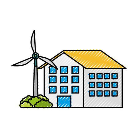 house building with wind turbine eco real estate energy efficient vector illustration Illustration
