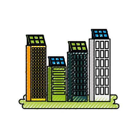 太陽光パネルベクトルイラスト付きグリーンエネルギー都市生態学自然家またはビジネスビル