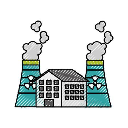 산업 원자력 발전소 및 공장 원자로 타워 벡터 일러스트 레이 션 일러스트