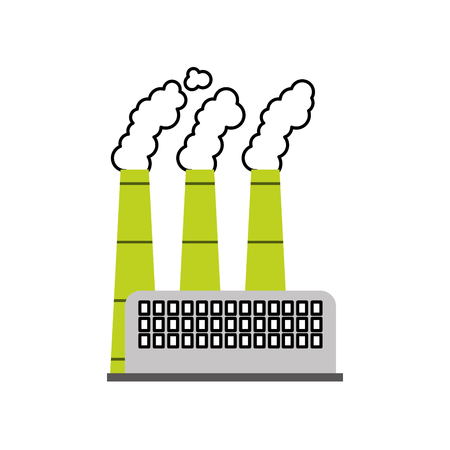 industry factory building plant and factory power and smoke vector illustration Ilustracja