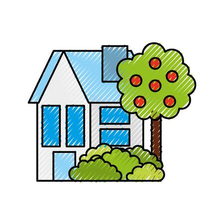 house tree fruit residence property real estate architecture vector illustration Illustration