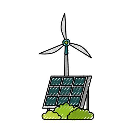 ソーラーパネル風車代替エネルギー源ベクトルイラストレーション