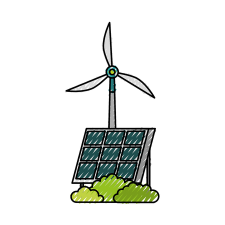 solar panel windmill alternative energy sources vector illustration