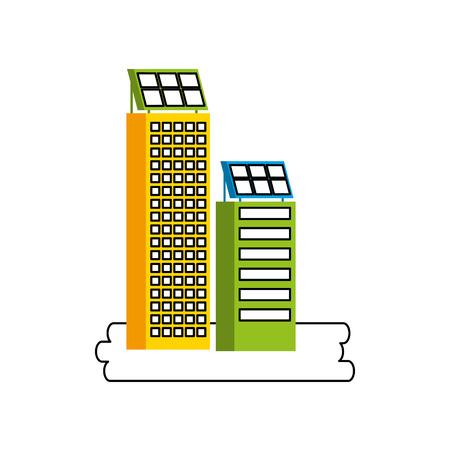 Casa di natura o di affari di ecologia urbana verde di energia verde con l'illustrazione di vettore del pannello solare Archivio Fotografico - 86318777