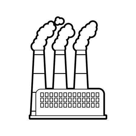 공장 및 공장 전원 및 연기 벡터 일러스트 레이 션을 구축하는 산업 공장