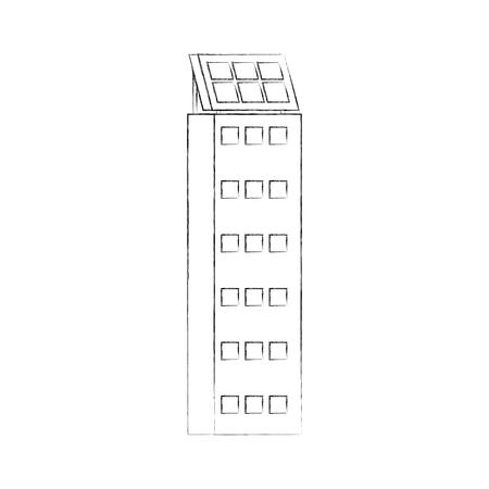Casa di natura o di affari di ecologia urbana verde di energia verde con l'illustrazione di vettore del pannello solare Archivio Fotografico - 86318783