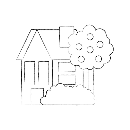 house fruit tree residence property real estate architecture vector illustration