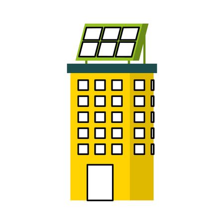 Casa di natura o di affari di ecologia urbana verde di energia verde con l'illustrazione di vettore del pannello solare Archivio Fotografico - 86318797