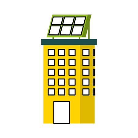 green energy urban ecology nature house or business building with solar panel vector illustration Çizim