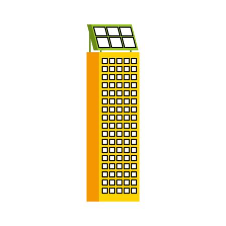 Casa di natura o di affari di ecologia urbana verde di energia verde con l'illustrazione di vettore del pannello solare Archivio Fotografico - 86318799