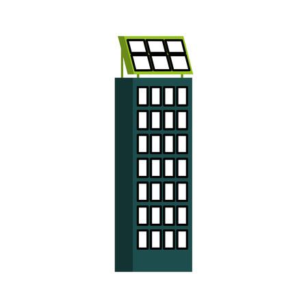 グリーン エネルギー都市生態学の自然の家またはビジネスの太陽電池パネルのベクトル図の構築