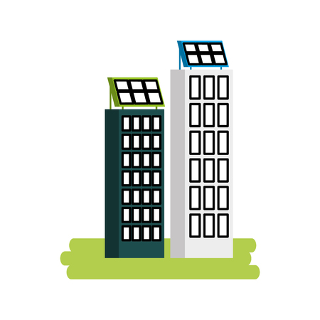 Casa di natura o di affari di ecologia urbana verde di energia verde con l'illustrazione di vettore del pannello solare Archivio Fotografico - 86318803