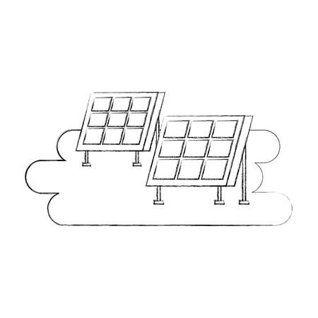 ソーラーパネル現代技術代替エネルギー源ベクトルイラストレーション 写真素材 - 86318807