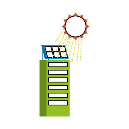 Casa di natura o di affari di ecologia urbana verde di energia verde con l'illustrazione di vettore del pannello solare Archivio Fotografico - 86318848