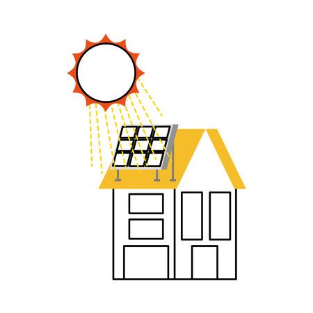 不動産ベクトルイラストレーションのためのソーラールーフパネル付きの家  イラスト・ベクター素材