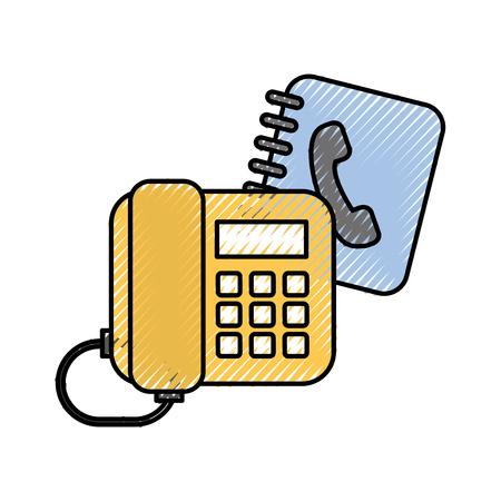 kantoor telefoon en adresboek vectorillustratie