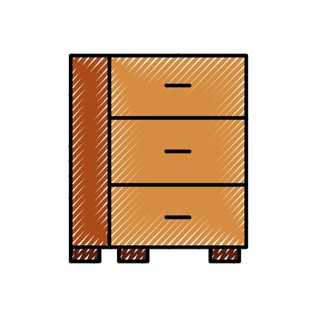 cabinet office drawers wooden furniture vector illustration Ilustração