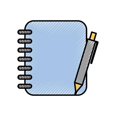 Spiraal notitieboekje met pen kantoorbenodigdheden vectorillustratie Stockfoto - 86318871
