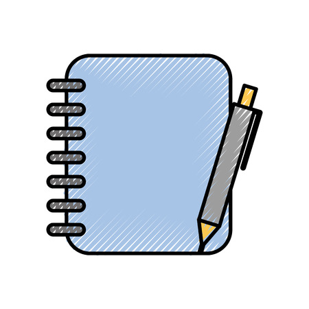 spiral notebook with pen office supplies vector illustration