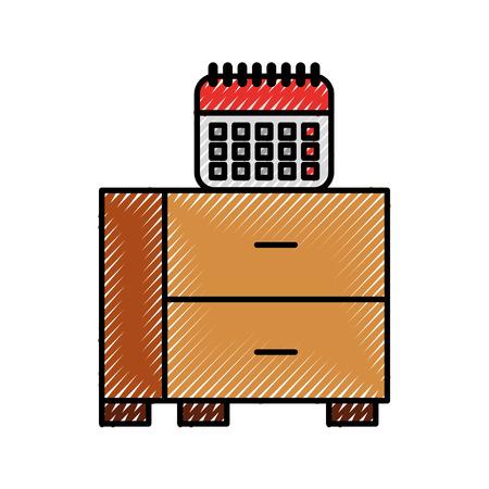 オフィステーブル引き出しとカレンダープランナー日付ベクトルイラスト  イラスト・ベクター素材